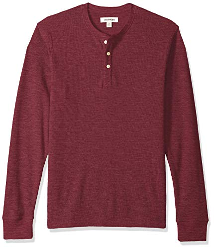 Herren Thermal Top (Goodthreads Long-Sleeve Slub Thermal Henleyshirt,Violett (burgundy), Large)