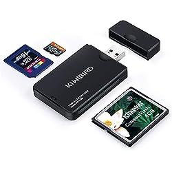 KiWiBiRD USB 3.0 (3.1 Gen 1) Lecteur de Carte Super Rapide 9-en-1 pour Cartes CF (UDMA), SDXC, SD, MMC, RS-MMC, SDHC, Micro SD, Micro SDXC, Micro SDHC [Soutient les Cartes UHS-I ] - Noir