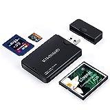 KiWiBiRD USB 3.0 (3.1 Gen 1) Lettore di Schede Super-Speed 9-in-1 per Schede CF Compact Flash (UDMA), SDXC, SD, MMC, RS-MMC, SDHC, Micro SD, Micro SDXC, Micro SDHC [Supporta Schede UHS-I] - Nero