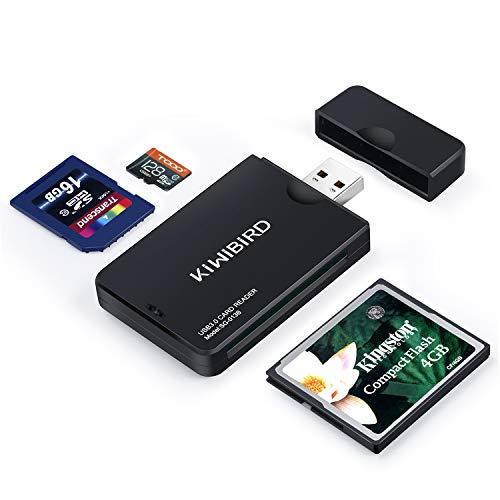 KiWiBiRD USB 3.0 (3.1 Gen 1) Super-Speed Kartenleser 9-in-1 für CF (UDMA), SDXC, SD, MMC, RS-MMC, SDHC, Micro SD, Micro SDXC, Micro SDHC Karten [Unterstützt UHS-I Karten] - Schwarz (Compact-flash-usb-reader)