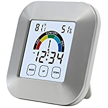 LCD digitale igrometro termometro mini monitoraggio meteo Clocks wireless multifunzione con indicatori di comfort, Touch Screen, Time display, sveglia e per serra, baby Room, casa, ufficio