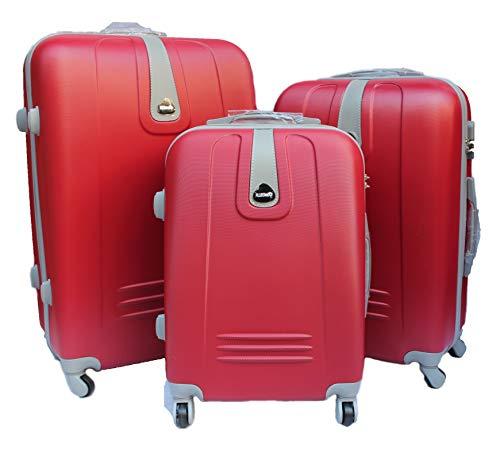 R.Leone Valigia da 1 pezzo Fino a Set 3 Trolley Rigido grande, medio e bagaglio a mano 4 ruote in ABS 188 (Rosso, Set 3 S M L)