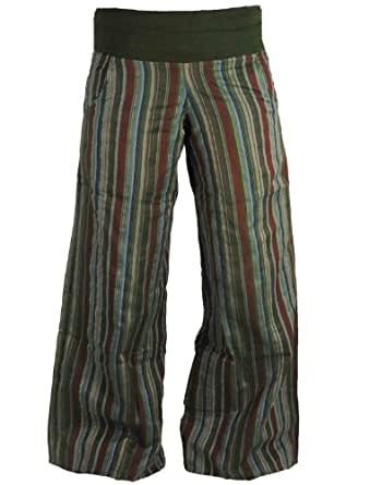 Womens Green Striped Wide Leg Festival Trousers (10)
