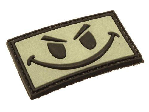 BE-X Nachtleuchtender 3D Rubber Patch/Abzeichen - Smiley - aus Hartgummi, mit Klett - 5 x 3cm (Mit Abzeichen)