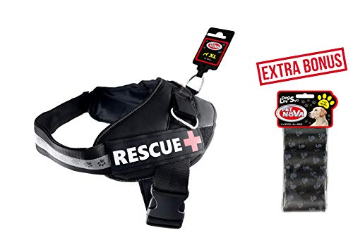 AJS LTD Premium reflektierendes Hundegeschirr für Spaziergänge, Outdoor-Aktivitäten, einfache Kontrolle, verstellbare Reichweite, kein Ziehen, Schwarz, extra Bonus-Abfallbeutel, 20 Stück