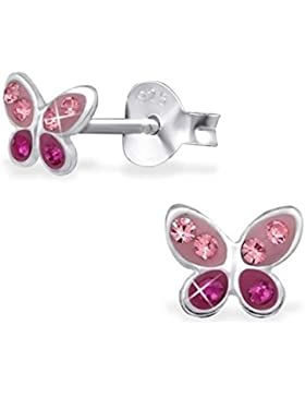 GH1a Mini Kristall Schmetterling Ohrstecker 925 Echt Silber Ohrringe Mädchen Kinder Geschenkidee