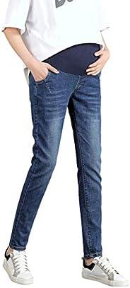Janjunsi Pregnancy Stretch Denim Trousers Maternity Jeans Slim Elastic Waist Prop Belly Pencil Pants for Pregn