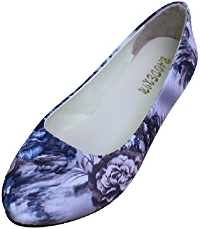 Mujer Étnicas Zapatos Pumps Cerrados Bailarina Clásico Zapatos Plano Estampado Floral