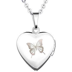 Yumilok Edelstahl Schmetterling Foto Medaillon Zum Öffnen Photo Bilder Amulett Silberfarben Rosa/Blau Herzanhänger Halskette Kettenanhänger für Damen Mädchen