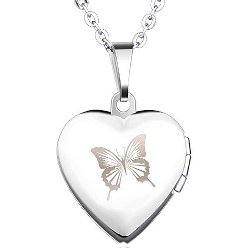 hmetterling Foto Medaillon zum Öffnen Photo Bilder Amulett Silberfarben Rosa Herzanhänger Halskette Kettenanhänger für Damen Mädchen ()