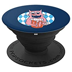 German Feline Kitty Owner Cat Lover Beer Drinker Oktoberfest PopSockets Grip and Stand for Phones and Tablets