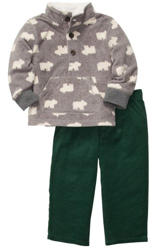 Carters Eisbär (Carter's Outfit 2 teilig Größe 80/86 Langarmshirt + Hose Cord Fleece warm Junge Eisbär US SIZE 24 month)