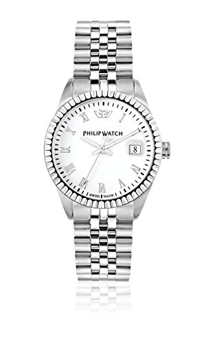 Philip Caribe Women's Quartz Watch with White Dial Analogue Display and Silver Stainless Steel Strap R8253597515