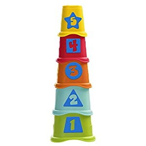 Chicco- Torre 2 en 1 Cubos apilables de Colores, Muticolor (00009373000000)