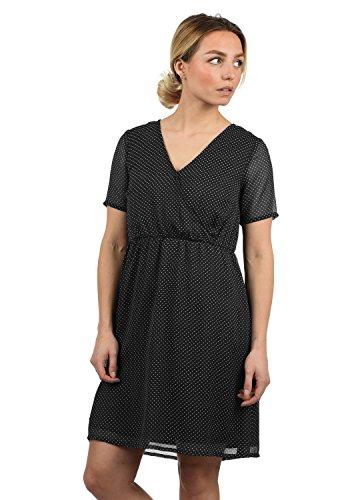 BlendShe Charlotte Damen Freizeitkleid Kleid Mit V-Ausschnitt Knielang, Größe:L, Farbe:Black dot (20102) -