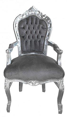 Casa Padrino Barock Esszimmer Stuhl mit Armlehnen Grau/Silber - Möbel Antik Stil (Antike Stühle Esszimmer)