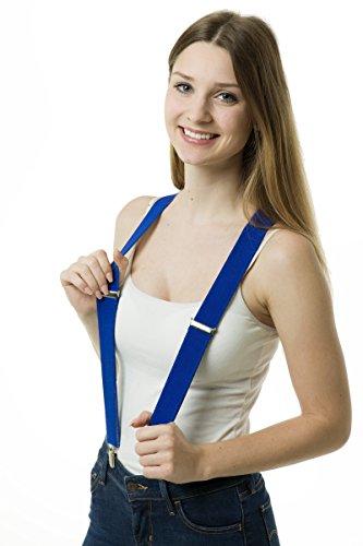 Edle Hosenträger 3 Klips Clips mit Verpackung Box Schatulle Geschäft extra starke Clips Y-Form schwarz braun grau blau beige 3,5cm breit (royalblau)