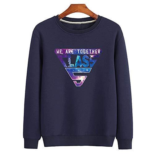 Cool & clothing Unisex-Langarmtrikot mit Sternenmuster, schmaler Freizeitpullover, schwarzes Plus-Samthemd, 100% Polyester 3XL,C,S