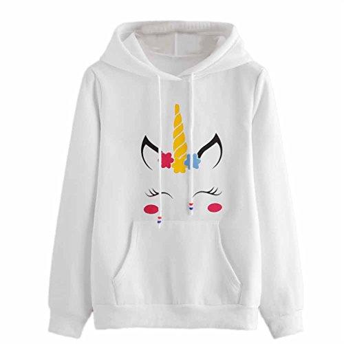 Damen Winterbluse&JYJMWomens Brief drucken Langarm Hoodie Sweatshirt Pullover mit Kapuze Pullover Tops (Weiß, L)