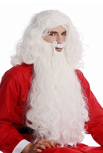 WIG ME UP - 08-A+B-ZA60 Perücke und Bart Set weiß Weihnachtsmann Santa Claus Nikolaus Knecht Ruprecht ()