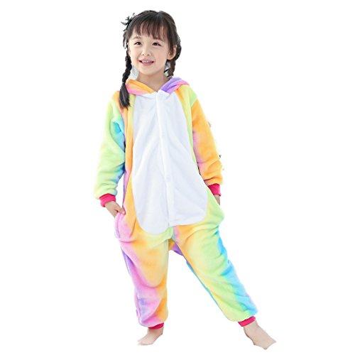 GWELL Kinder Kostüm Tier Kostüme Schlafanzug Mädchen Jungen Winter Nachtwäsche Tieroutfit Cosplay Jumpsuit Bunt Einhorn Körpergröße 135-144cm