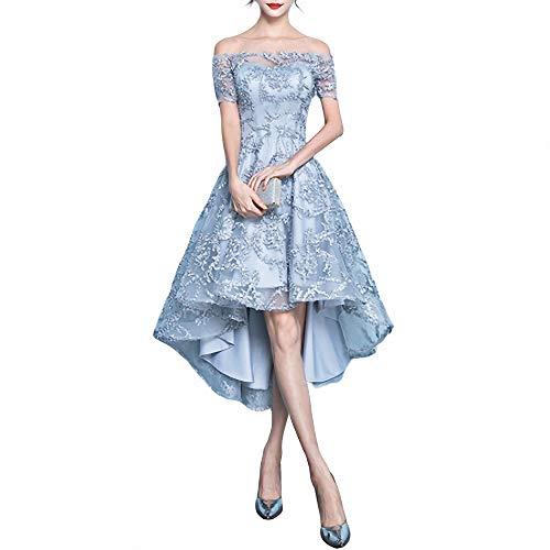 FeiXing158 Bankett Abendkleid stilvoll und elegant Wort kurz vorn Kleid Gr. X-Large, grau
