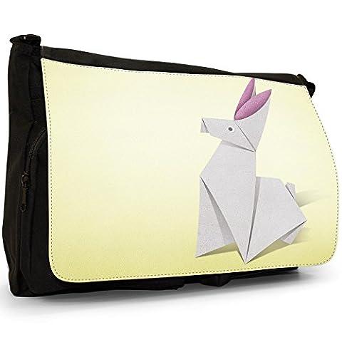 Origami Rabbit Bunny With Pink Ears Large Messenger Black Canvas Shoulder Bag - School / Laptop Bag