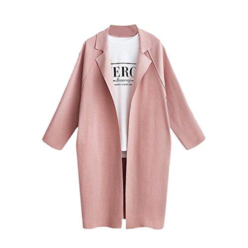 Heheja Damen Langer Jacke Mantel Schlank Wärme Elegante Trenchcoat Pink L