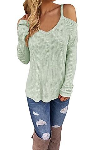fempool femmes Sangle Off bandoulière Crochet Knit T-shirt à manches longues pour femme - vert - S