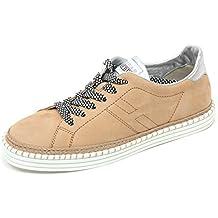 C7990 sneaker donna HOGAN REBEL R260 scarpa bassa allacciato beige shoe  woman 0a4196c8920