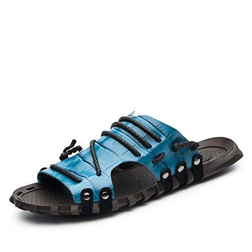 Xing Lin Beach Flip Flop Uomini Sandali _ Estate Parola Pantofole Di Grandi Dimensioni Sandali Nuovi Uomini Sandali XGZ7551 blue