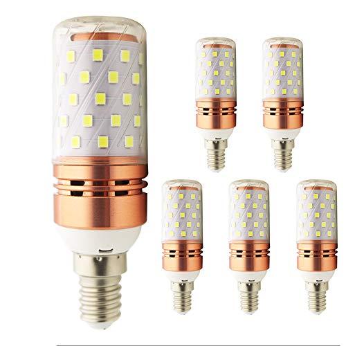 Licht Kronleuchter 5 100w Glühbirnen (E14 LED Corn Birnen, 12W kaltweiß 6000K 100Watt Glühlampe äquivalent, für Kronleuchter Wandlampe Zylinder Glühbirnen(5er-Pack) (E14-12w-6000k))