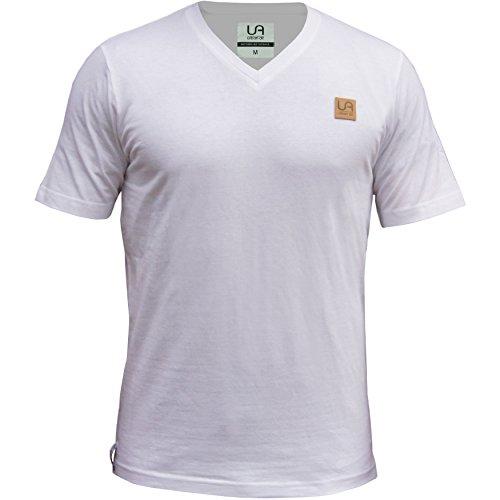 urban air StyleFit | T-Shirt | Herren | für Sport und Freizeit | 100% Baumwolle, Leder-Patch, V-Ausschnitt, ohne Aufdruck, Kurzarm | Weiß | M | Leicht Tailliert (Patch-Ärmelloses T-shirt)