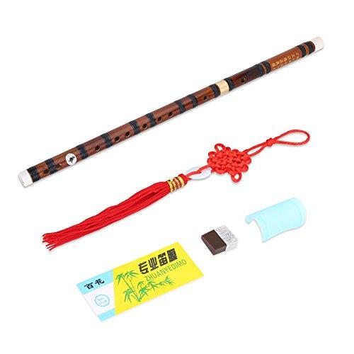 Chinesische Dizi Flöte Exquisite Bitter Bamboo Flute F/G Key für Anfänger und Fortgeschrittene Spieler(Schwarz G Taste)