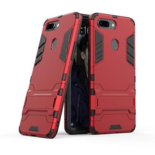 Xinanlongjb Für Oppo R15 Pro (Oppo R15 Dream Mirror Edition) mit Fallschutzhalterung Classic 2 in 1 Armor Series Coole Handyhalterungsfunktion Hartschalen-Hülle (Farbe : Rot)