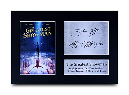 HWC Trading The Greatest Showman Geschenke Unterzeichneten A4 Gedrucktes Autogramm Hugh Jackman Zac Efron Zendaya Rebecca Ferguson Michelle Williams Foto-Anzeige