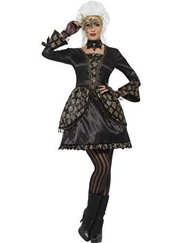 costumebakery - Damen Frauen Masquerade Kostüm im Venedig Stil, Barockes Ballkleid, perfekt für Halloween Karneval und Fasching, L, Schwarz