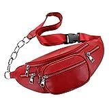 True-Ying Sport und Freizeit Outdoor Hüfttasche Kette Brusttasche Schultertasche PU Crossbody Bag Hüfttasche rot