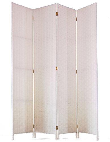 PEGANE Biombo de Fibras Naturales de 4 Paneles, Color Blanco - Dim : A