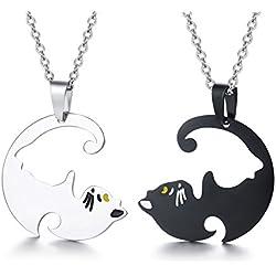Vnox Juego a Juego Cute Cat Puzzle Negro Collar de Acero Inoxidable Plateado Pareja Colgante para Hombres y Mujeres