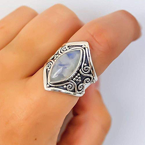 GHY Ring Mode Retro Mondschein Stein Thai Silber Ring Trendy Punk Stil Übertrieben Ring Schmuck,Bild,Nein.8