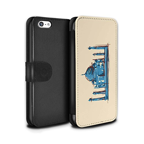 Stuff4 Coque/Etui/Housse Cuir PU Case/Cover pour Apple iPhone 5C / Multipack Design / Monuments Collection Taj Mahal/Indie