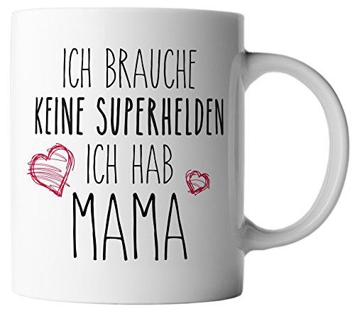vanVerden Tasse Kein Superheld Nur Mama Muttertag Geschenk inkl. Geschenkkarte, Farbe:Weiß/Bunt
