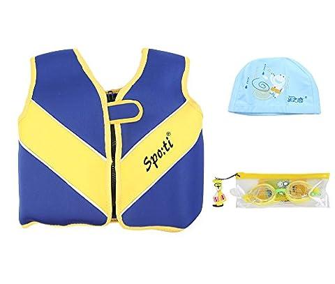 genwiss Enfant de bain petit Life pour Femme Bleu 18mois–2ans inclus lunettes de natation et bonnet de natation