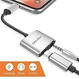 Lightning auf 3,5 mm Klinkenstecker Kopfhörer Adapter für iPhone X iPhone 8/8 Plus iphone7/7 Plus/6S/6 iPod/iPad. Lightning Connector auf 3,5 mm AUX Konverter Kopfhörer Klinke Adapter Zubehör. Kopfhörer Adaptor Aux Audio Charge Adapter, Anschluss Lightning-Kabel Splitter [Audio + Laden + Musik+Anruf]. Unterstützung iOS 11 und später.