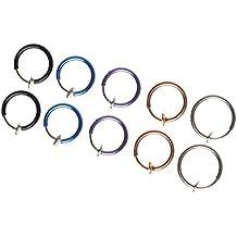 sumaju pendientes Aro, 10unidades, 5colores diferentes Beadaholique aros del oído nariz oído labios anillo clip joyería