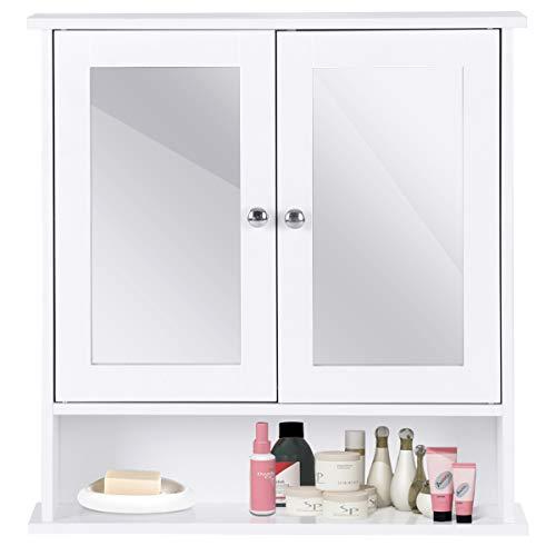 COSTWAY Spiegelschrank Badezimmer, Badschrank mit Spiegel, Badezimmerschrank weiß, Badezimmerspiegel mit Ablage, Hängeschrank Badmöbel,