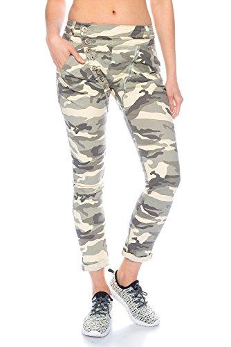 Fashionflash C9354 Damen Hüfthose Camouflage/Uni mit Knopfleiste und Reißverschluss (S, Camouflage/grau-beige)