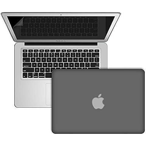 SlickBlue Macbook-Air-13 (A1466/A1369) recubierto de goma duro caja con EU QWERTY cubierta del teclado y protector de pantalla - negro