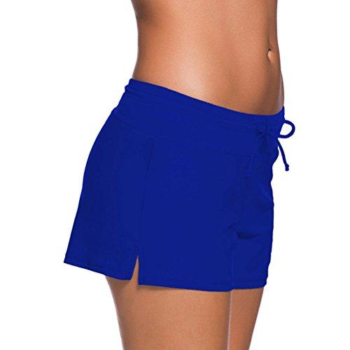 YoungSoul Schwimmshorts Damen Bademode Bikinihose Tankini Hotpants Schwimmen Badeshorts mit Kordelzug Blau